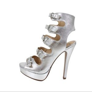 Silver open toe multi strappy platform heel sandal